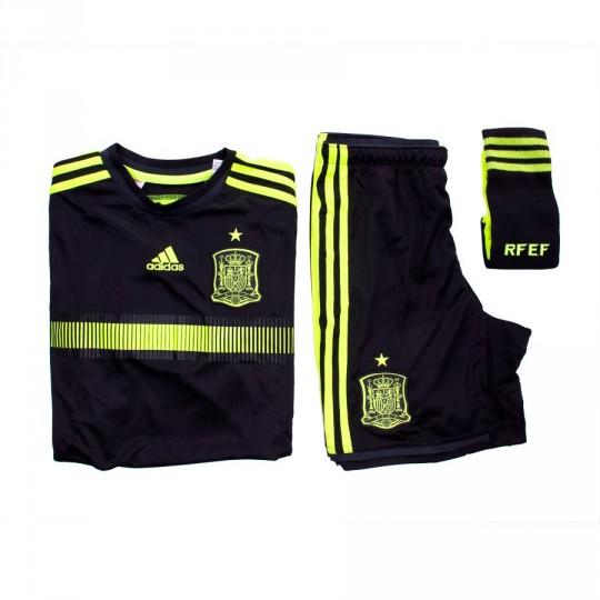 Conjunto  adidas Jr Seleccion Española Away 2015-16 Black-Solar yellow