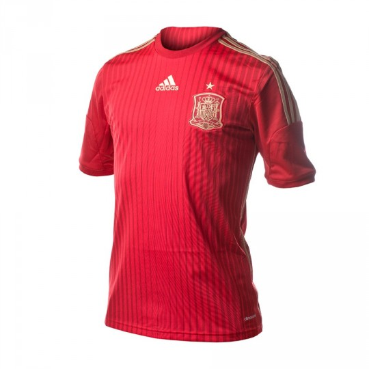 Maillot  adidas Jr Sélection Espagnole Home 2015-16 Victory red-Light football gold