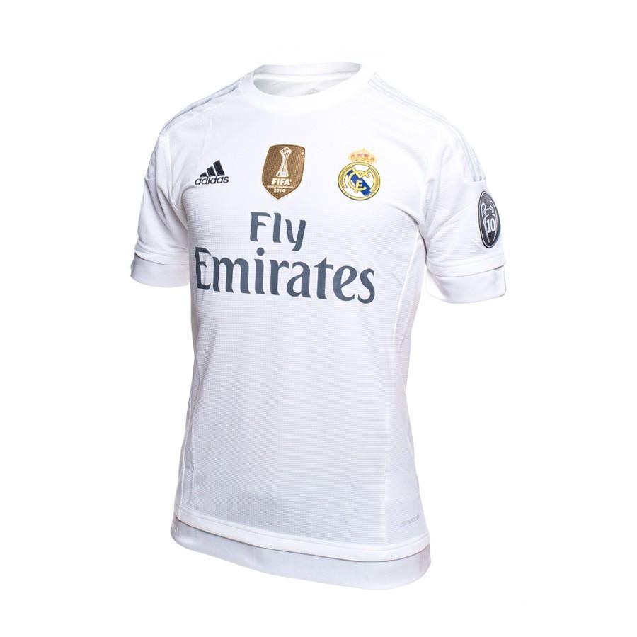 Camiseta adidas Real Madrid 15-16 CL White - Soloporteros es ahora ... ad3e7fecb38ab