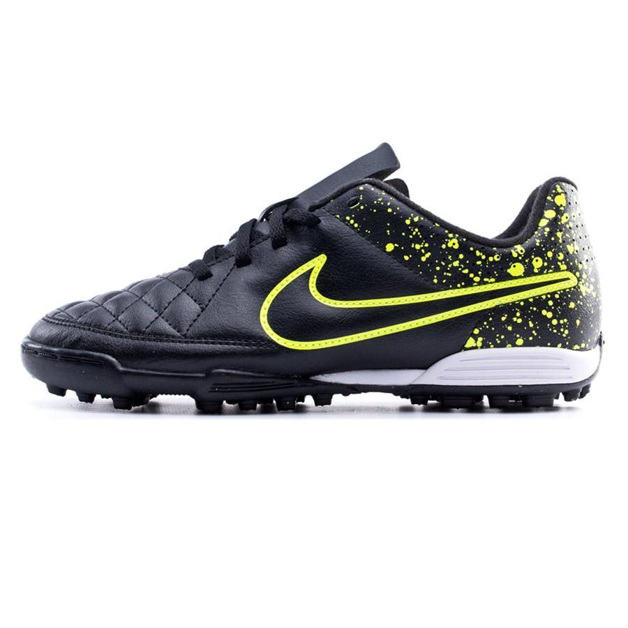 Bota de fútbol Nike Tiempo Rio II TF Niño Black-Volt - Soloporteros ... 997840f8813ee