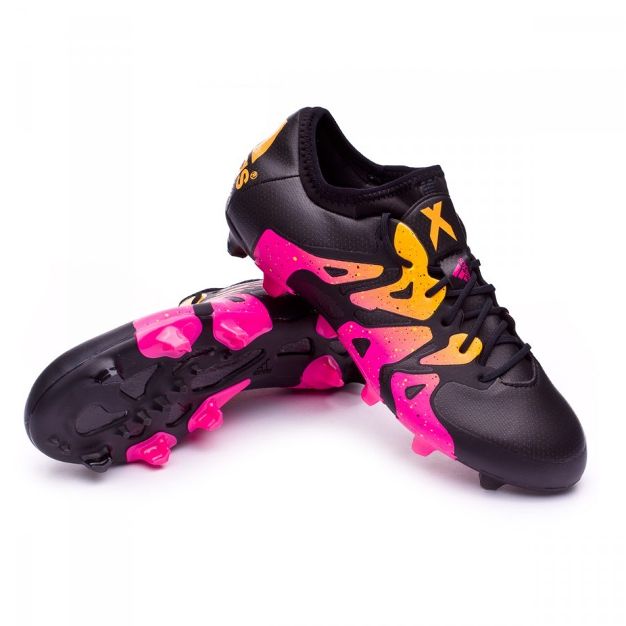 chuteira adidas x 15 1 fg ag core black shock pink solar gold loja de futebol f tbol emotion. Black Bedroom Furniture Sets. Home Design Ideas
