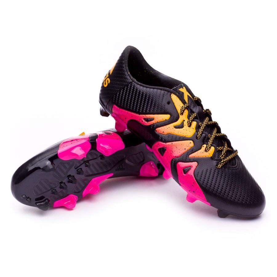Bota de fútbol adidas X 15.3 FG AG Core black-Shock pink-Solar gold ... 9def79230dcab