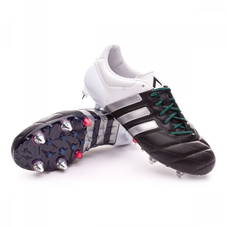 new concept 24a67 dcf97 Scarpe adidas Ace 15.1 SG Pelle Core black-Matte silver-White - Negozio di  calcio Fútbol Emotion