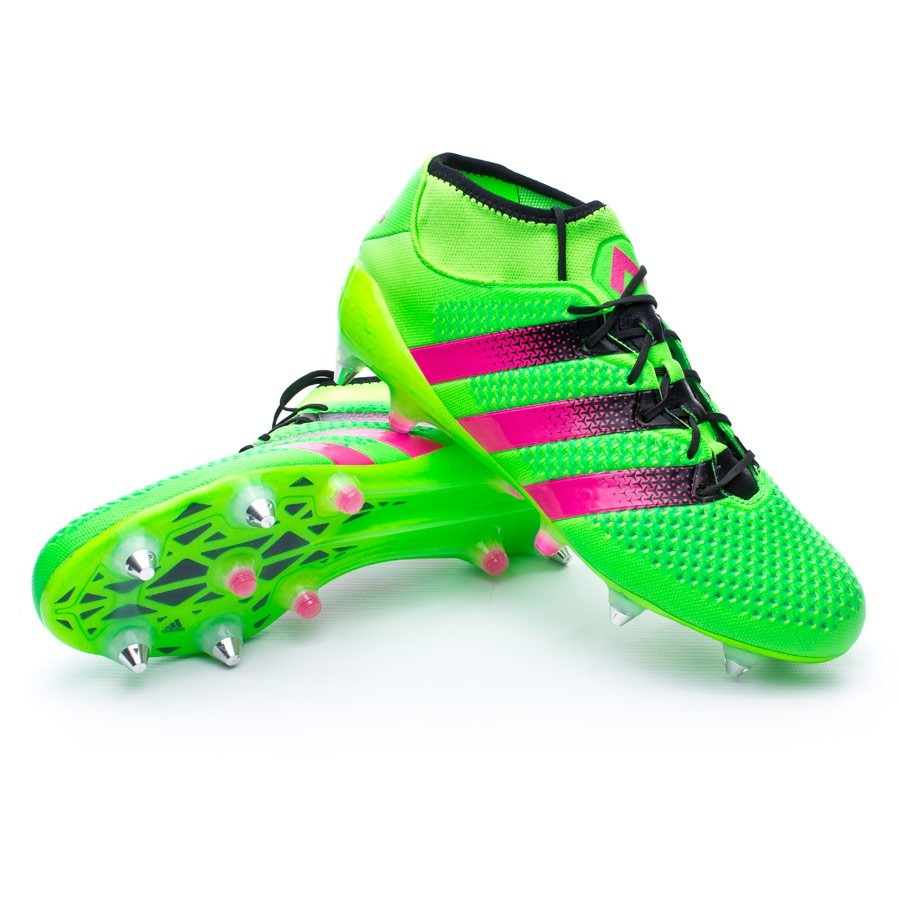 best cheap 0edc3 3a3c9 Chuteira adidas Ace 16 + Primeknit SG Solar green-Shock pink-Core black -  Loja de futebol Fútbol Emotion