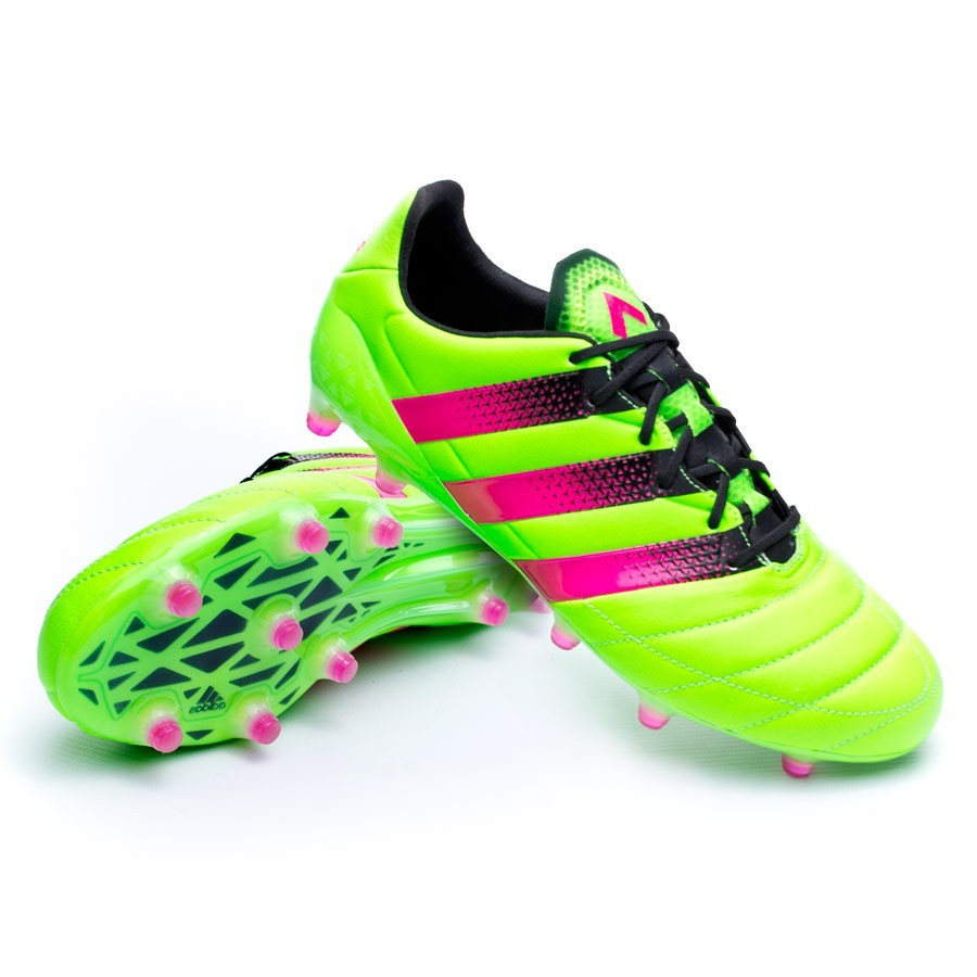 brand new f13f0 be0d8 Bota Ace 16.1 FG/AG Piel Solar green-Shock pink-Core black