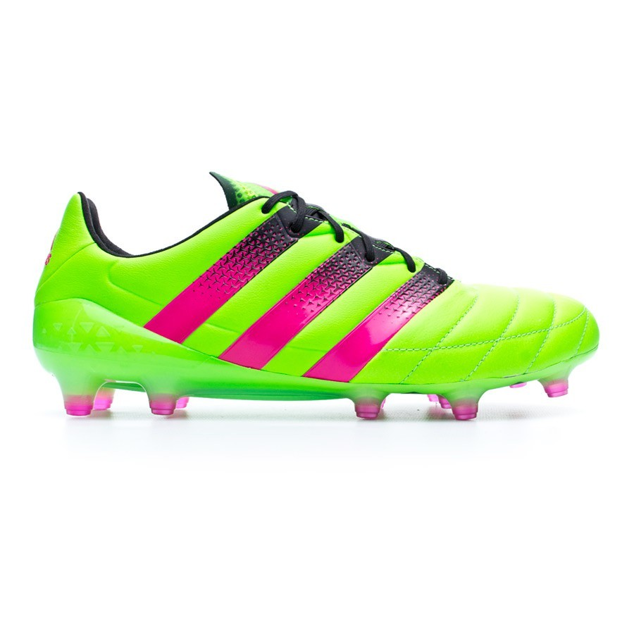 new product a55b4 6fbe0 Chaussure de foot adidas Ace 16.1 FG AG Cuir Solar green-Shock pink-Core  black - Boutique de football Fútbol Emotion