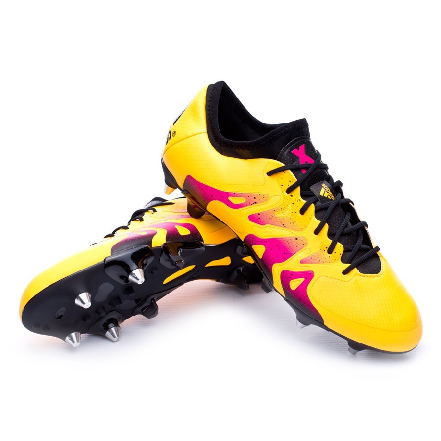 Chaussure de football adidas X 15.1 SG Solar gold-Core black-Shock pink - Boutique de football Fútbol Emotion