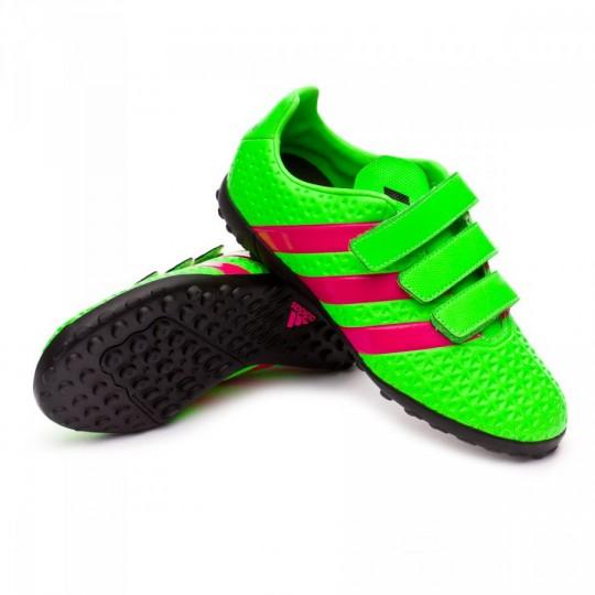 Chaussure  adidas Jr Ace 16.4 Turf Velcro Solar green-Shock pink-Core black