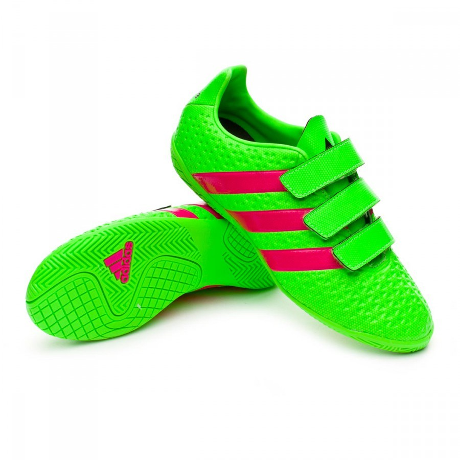 Zapatilla adidas Ace 16.4 IN Velcro Niño Solar green-Shock pink-Core black  - Soloporteros es ahora Fútbol Emotion 80ed07e91c5fc