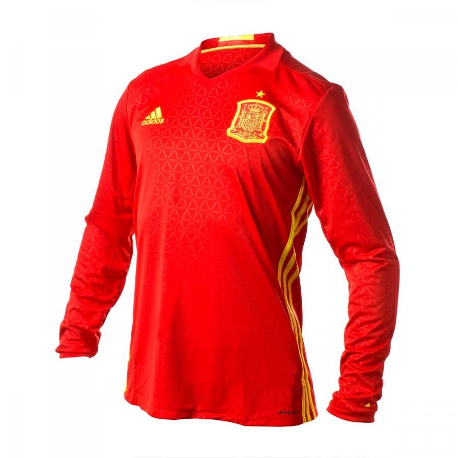 c76404ada4 Camiseta adidas Selección Española Primera Equipación Euro 2016 Manga Larga  Scarlet-Bright yellow - Soloporteros es ahora Fútbol Emotion