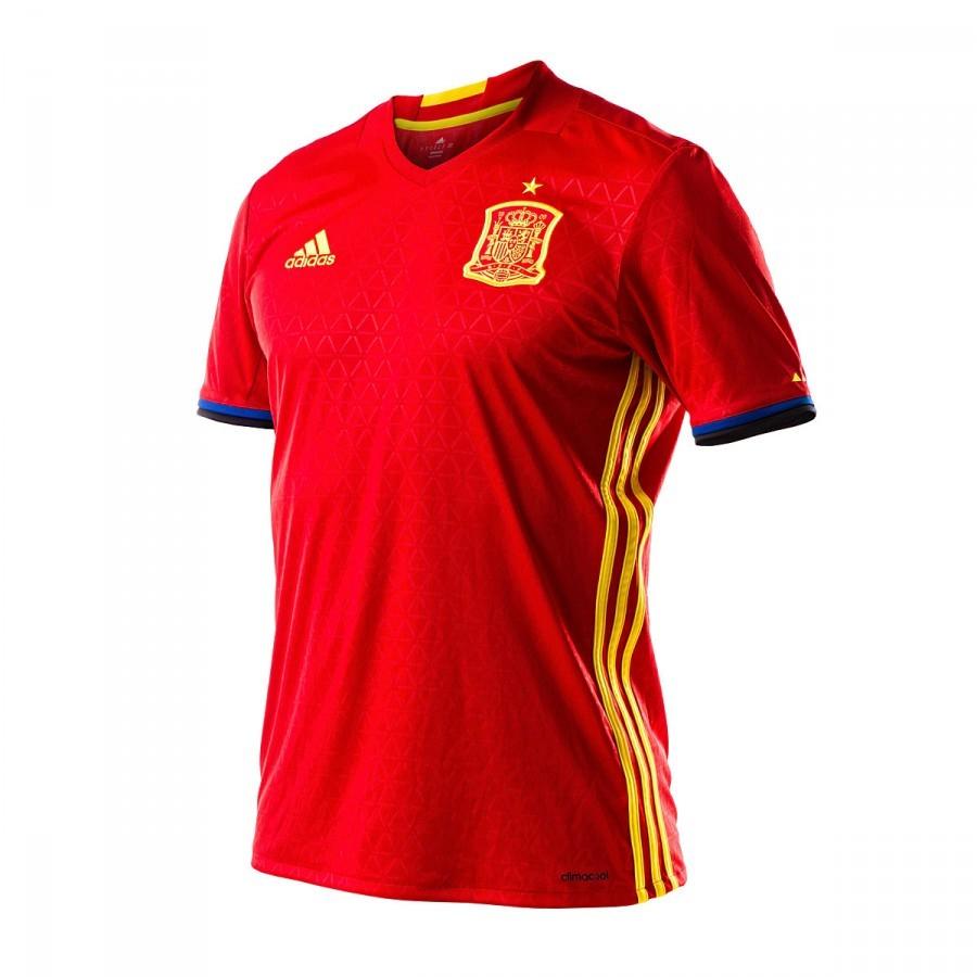 a9f15ce505027 Camiseta adidas España Primera Equipación Euro 2016-2017 Scarlet-Bright  yellow - Tienda de fútbol Fútbol Emotion