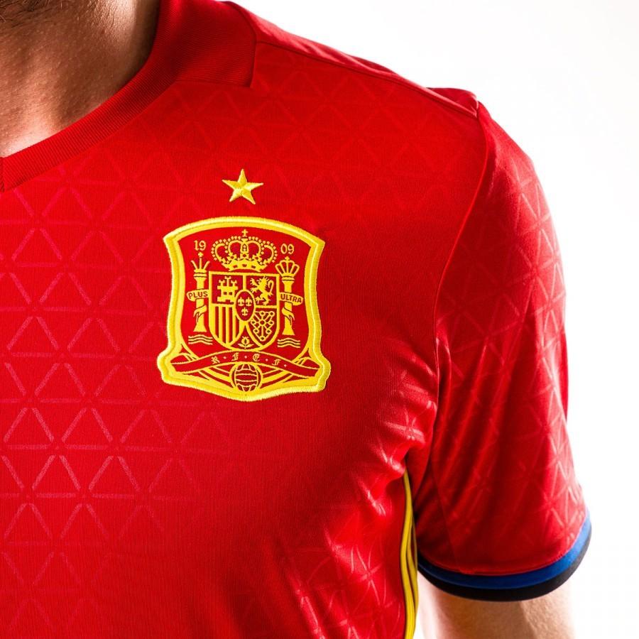 5b510eeec291e Camiseta adidas España Primera Equipación Euro 2016-2017 Scarlet-Bright  yellow - Tienda de fútbol Fútbol Emotion