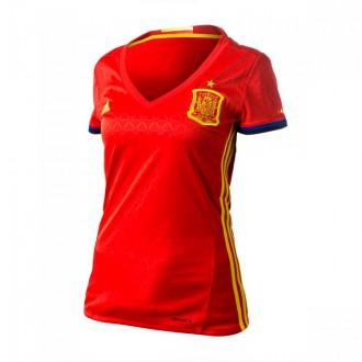 Camisola  adidas Seleção Espanhola Principal 2016 Mulher Scarlet-Bright yellow