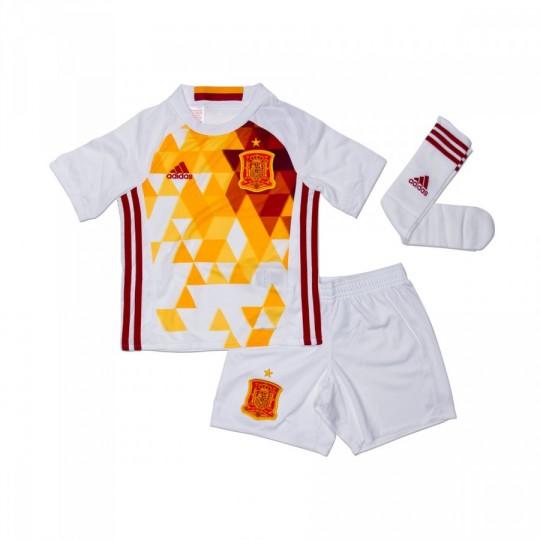 Conjunto  adidas Jr Seleção Espanhola Alternativo Euro 2016 White-Power red