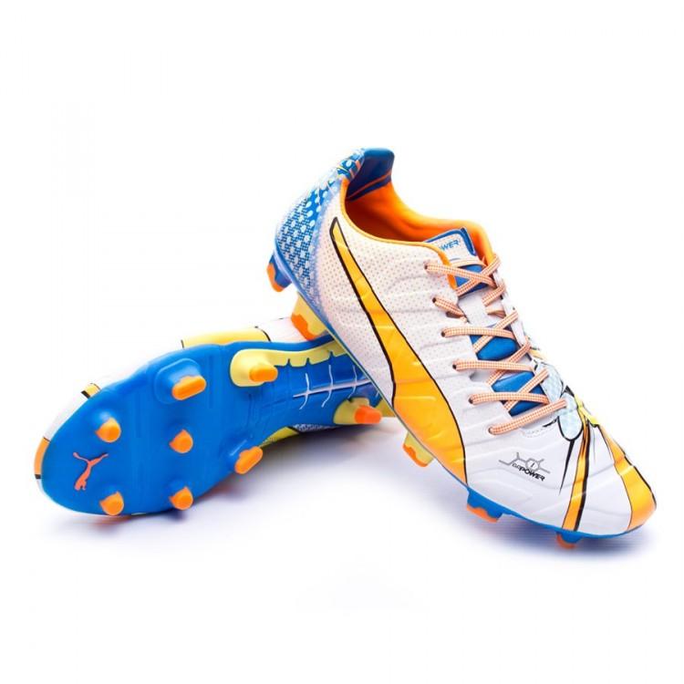 92418824d Zapatos de fútbol Puma Evopower 1.2 Graphic POP FG White-Orange ...