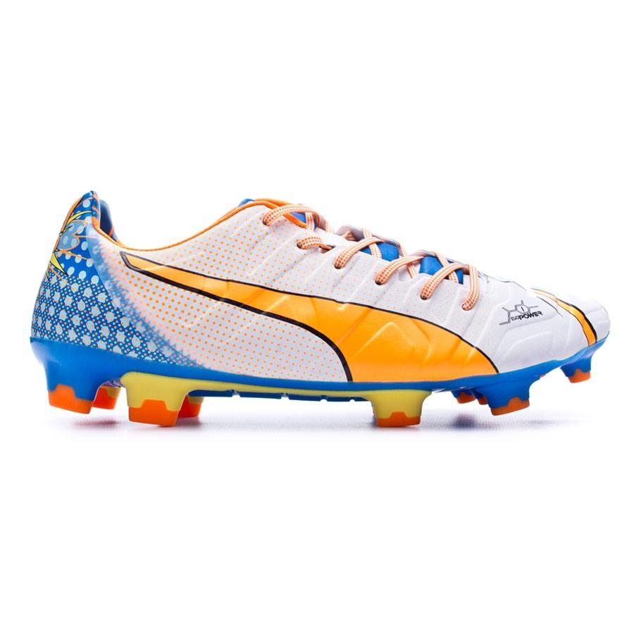 14f1689a4 Zapatos de fútbol Puma Evopower 1.2 Graphic POP FG White-Orange  clown-Electric blue lemonade - Tienda de fútbol Fútbol Emotion
