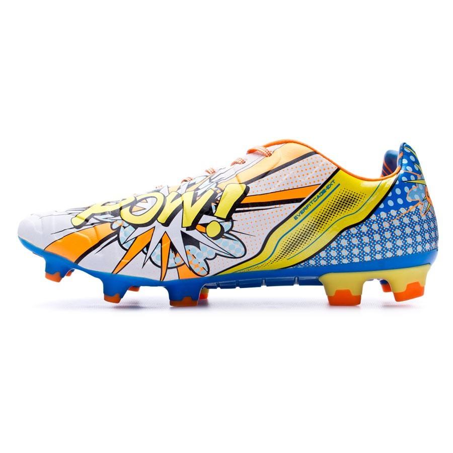 26e231261 Football Boots Puma Evopower 1.2 Graphic POP FG White-Orange clown-Electric  blue lemonade - Football store Fútbol Emotion