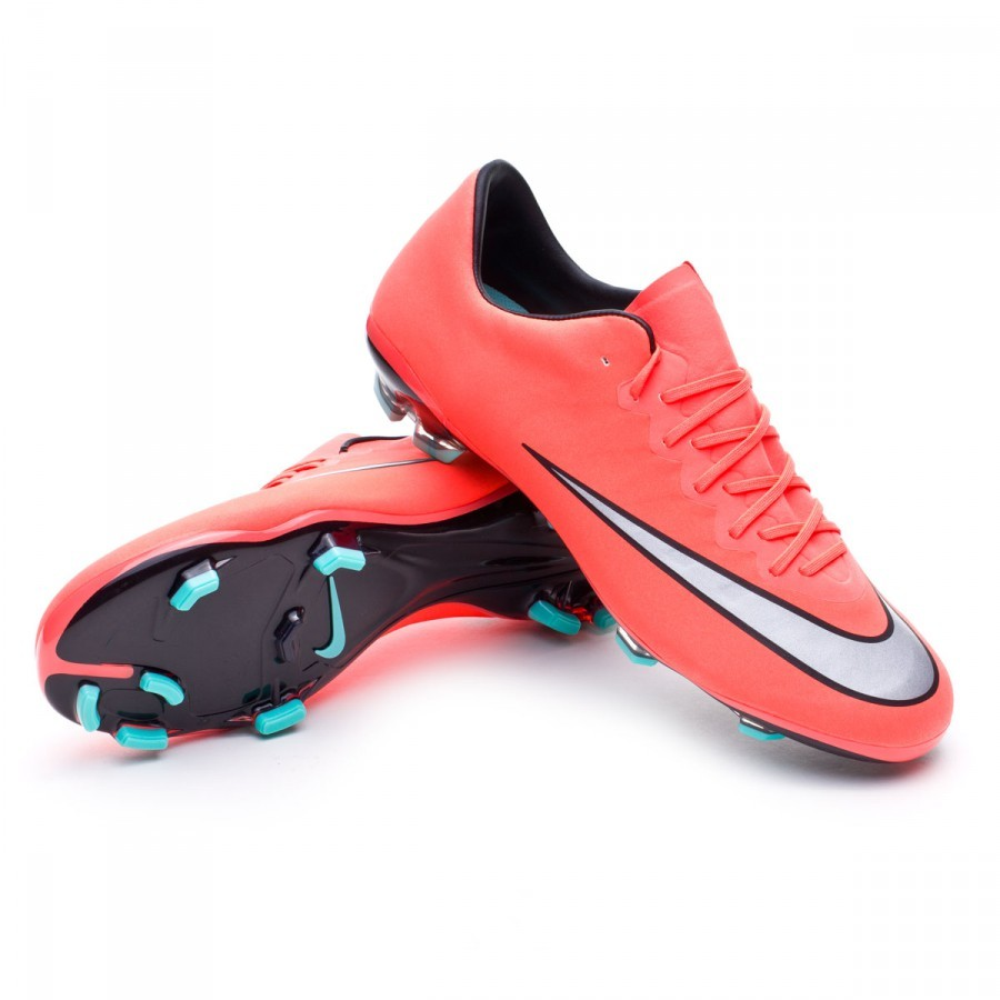 purchase cheap 2009b b6ffb Nike Kids Mercurial Vapor X ACC FG Football Boots. Bright mango-Metallic  silver-Hyper turquoise ...