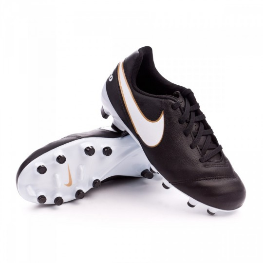 Bota  Nike jr Tiempo Genio FG Black-White-Metallic gold