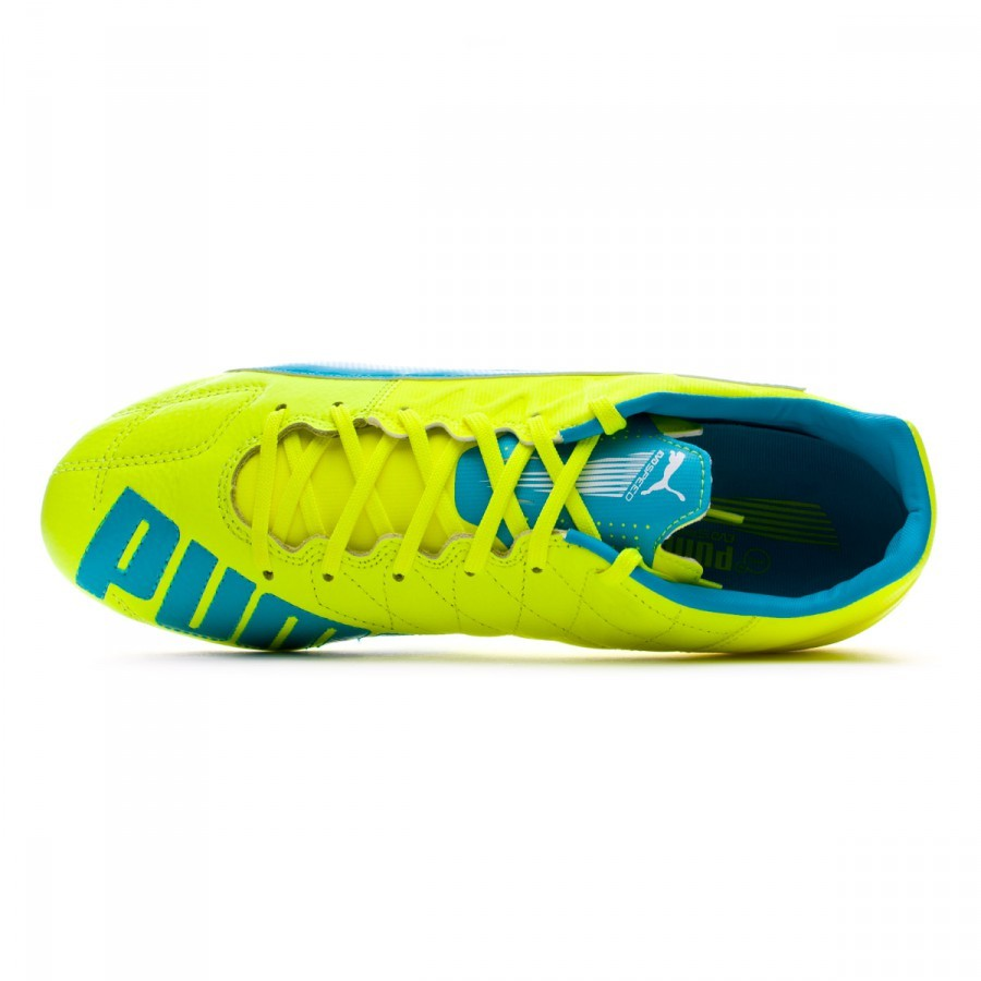 fc34f02d96c566 Boot Puma evoSPEED 3.4 Leather AG Safety yellow-Atomic blue-White - Football  store Fútbol Emotion