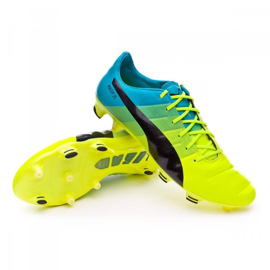 046f14aa74b6 Football Boots Puma evoPOWER 1.3 FG Safety yellow-Black-Atomic blue ...