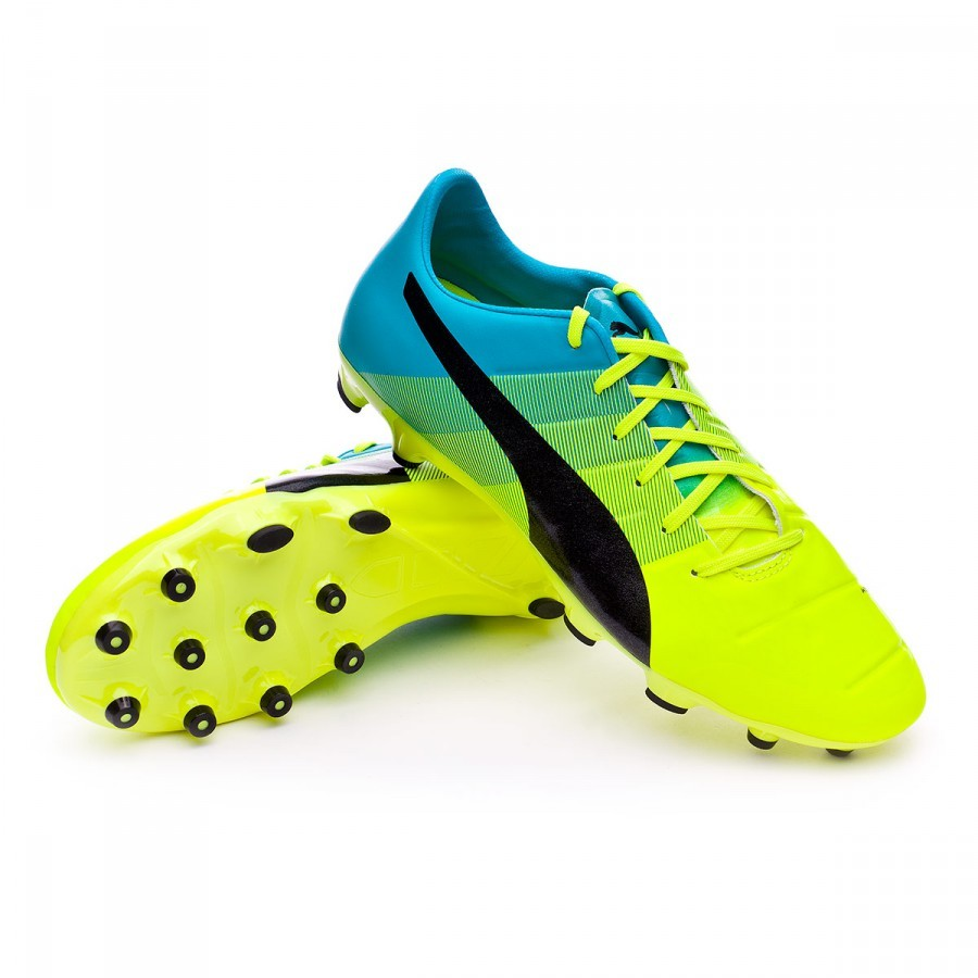 Boot Puma evoPOWER 2.3 AG Safety yellow-Black-Atomic blue - Football ... 191faaa65746