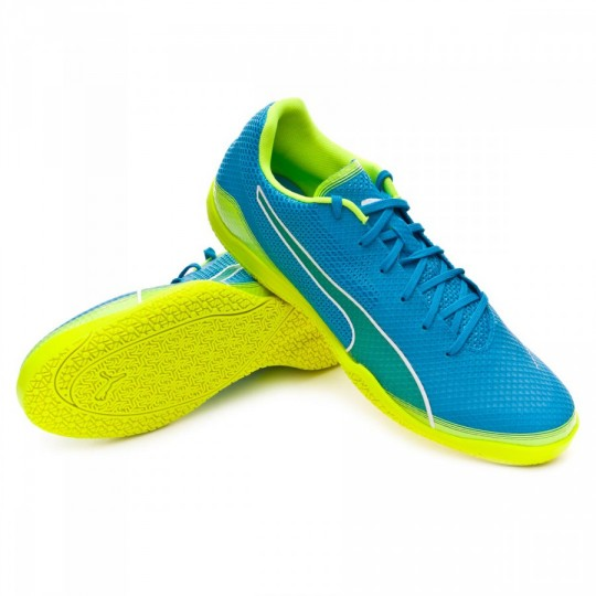 Chaussure de futsal  Puma Invicto Fresh Atomic blue-Safety yellow-White