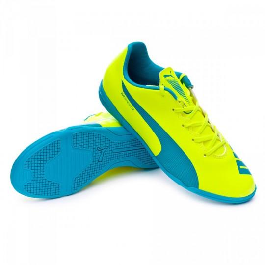 Zapatilla de fútbol sala  Puma Jr evoSPEED 5.4 IT Safety yellow-Atomic blue-White