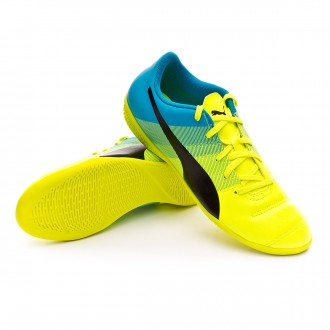 Zapatilla de fútbol sala  Puma Jr evoPOWER 4.3 IT Safety yellow-Black-Atomic blue