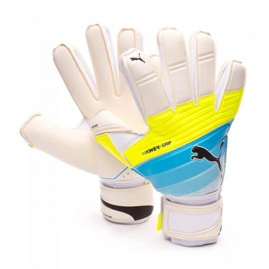 Guante  Puma evoPOWER Grip 1.3 RC White-Atomic blue-Safety yellow