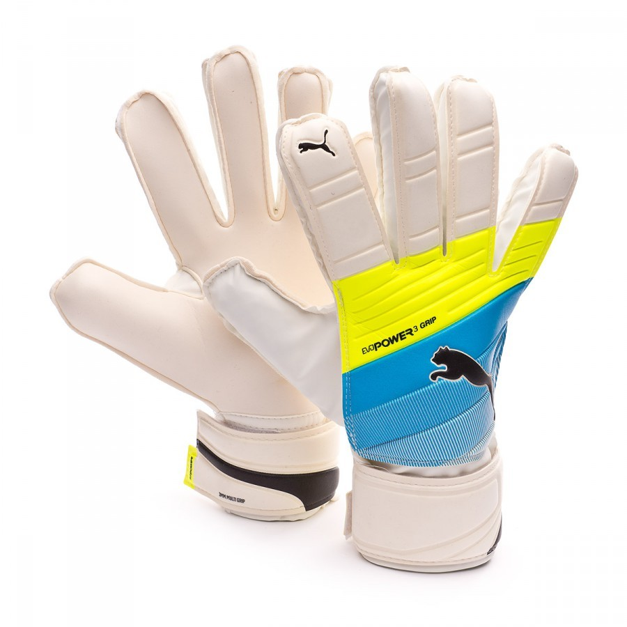 Glove Puma evoPOWER Grip 3.3 RC White-Atomic blue-Safety yellow - Football  store Fútbol Emotion 1c0121310d45