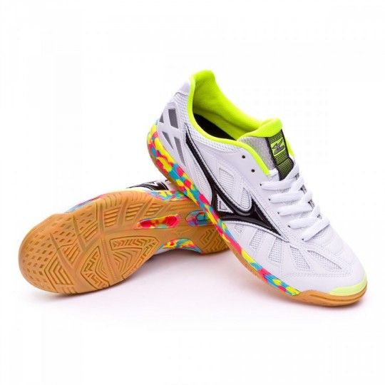 Sapatilha de Futsal  Mizuno Sala Premium IN White-Black-Safety yellow
