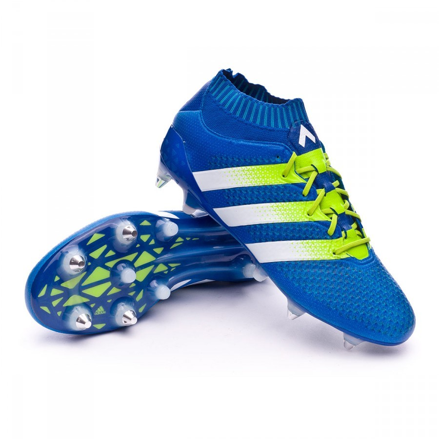 Boot adidas Ace 16+ Primeknit SG Shock blue-Semi solar slime-White -  Soloporteros is now Fútbol Emotion