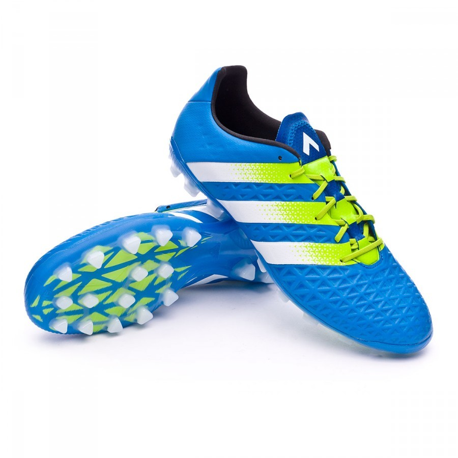 Boot adidas Ace 16.1 AG Shock blue-Semi solar slime-White - Football store Fútbol Emotion