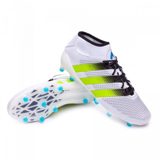 Chaussure de football adidas Ace 16 Primeknit FG/AG White-Semi solar slime-Shock blue - Boutique de football Fútbol Emotion