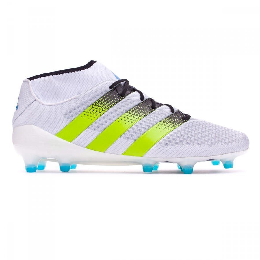 2530694d988b Football Boots adidas Ace 16+ Primeknit FG AG White-Semi solar slime-Shock  blue - Football store Fútbol Emotion