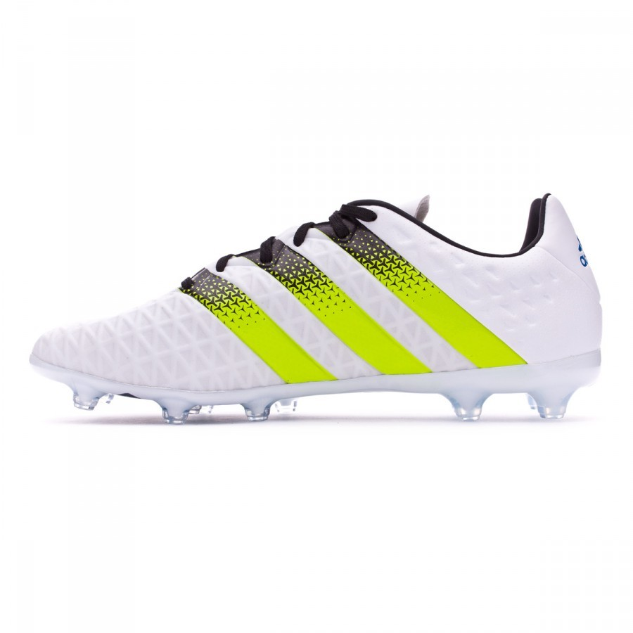 a2981b2b70f1 Football Boots adidas Ace 16.2 FG AG White-Semi solar slime-Shock blue -  Football store Fútbol Emotion