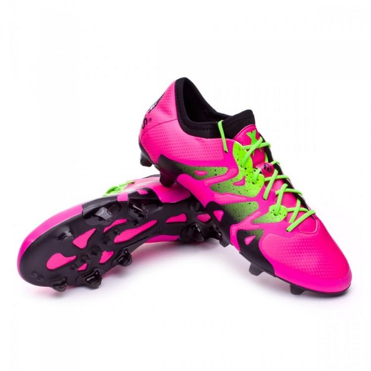 Bota de fútbol adidas X 15.1 FG AG Shock pink-Solar green-Core black ... 7f89aa9176b61