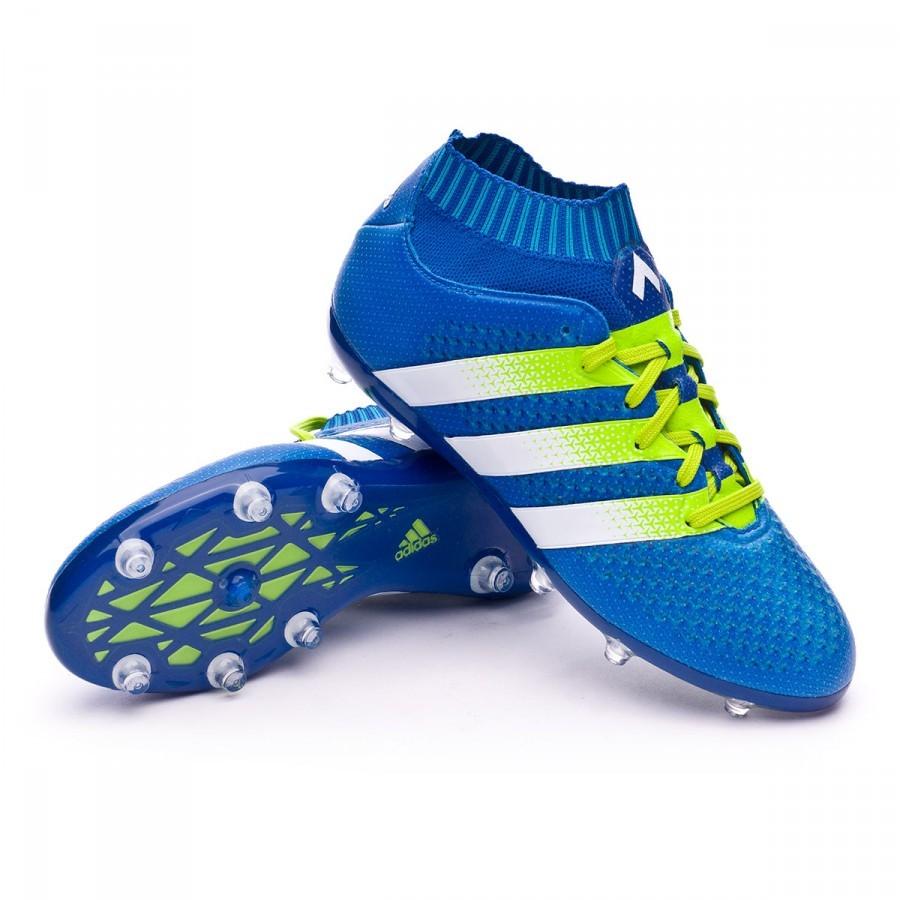 sports shoes 02866 ff1e6 Zapatos de fútbol adidas Ace 16+ Primeknit FG AG Niño Shock blue-Semi solar  slime-White - Soloporteros es ahora Fútbol Emotion