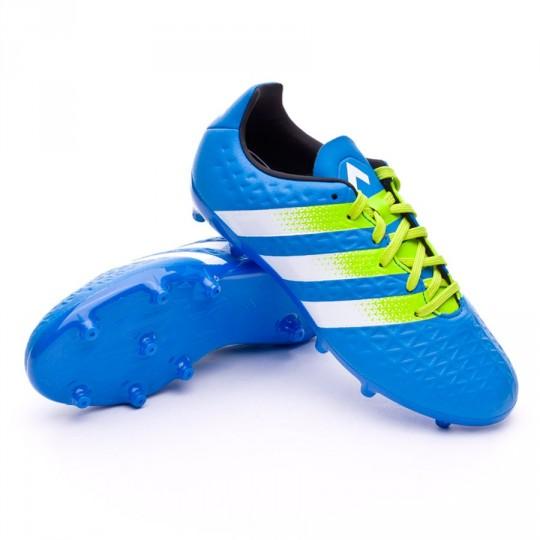 Bota  adidas jr Ace 16.3 FG/AG Shock blue-Semi solar slime-White