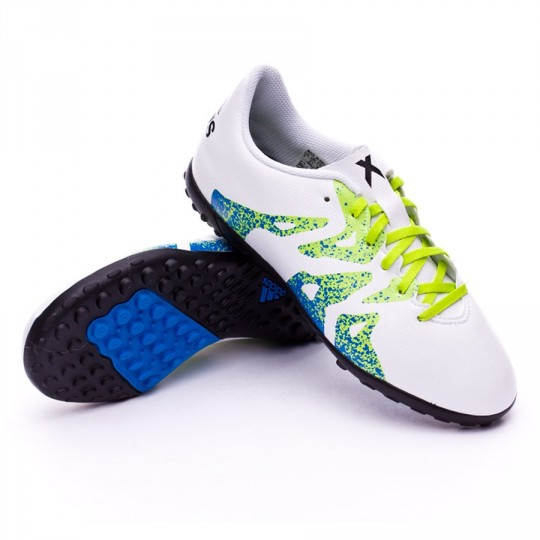 Chuteira  adidas jr X 15.4 Turf Crystal white-Core black-Semi solar slime