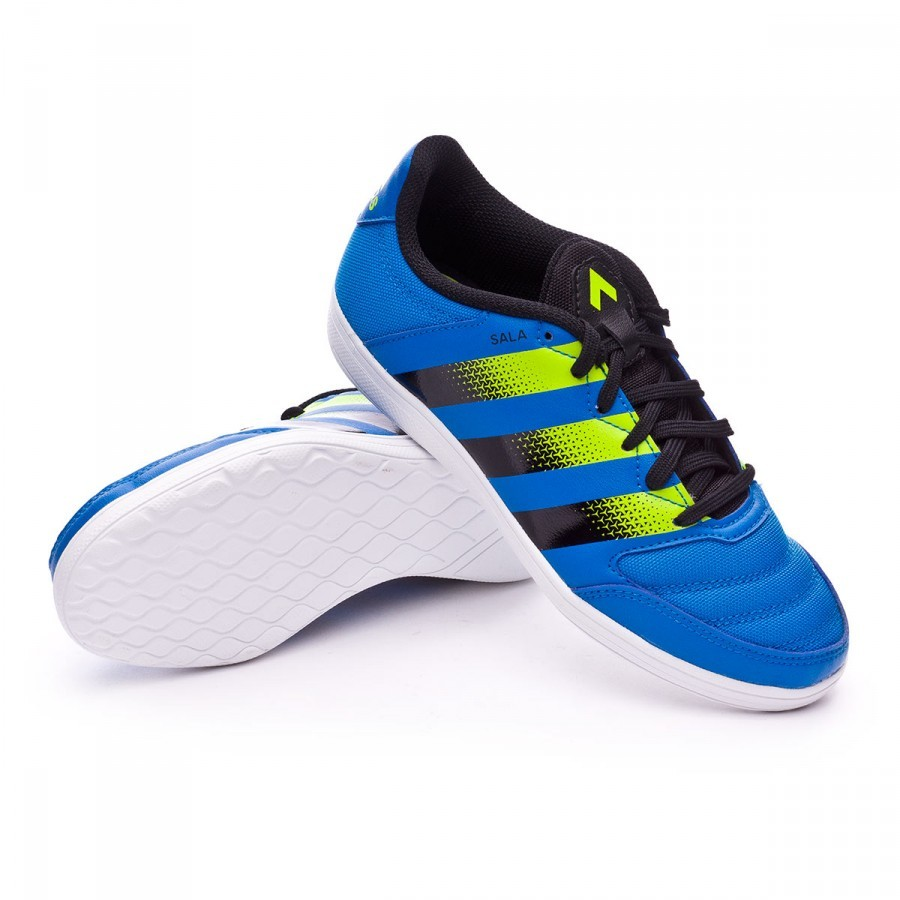 ed1712f577c7 Futsal Boot adidas Jr Ace 16.4 ST Shock blue-Semi solar slime-White ...