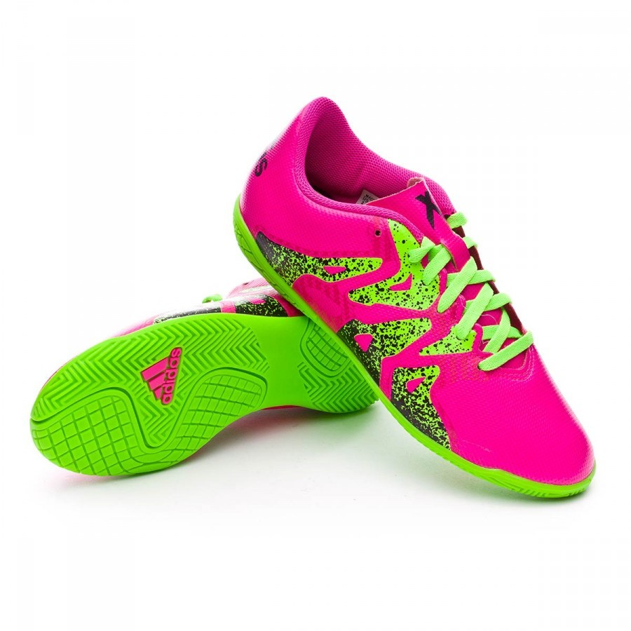 Tenis adidas X 15.4 IN Niño Shock pink-Solar green-Core black -  Soloporteros es ahora Fútbol Emotion f67b7863dfc