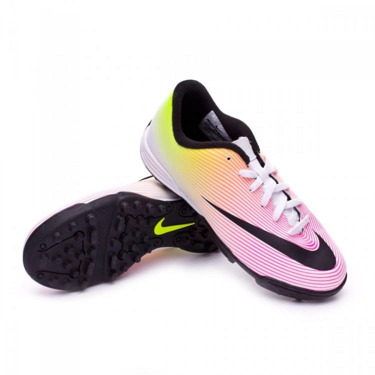Bota de fútbol Nike Mercurial Vortex II Turf Niño White-Volt-Total ... 9875dea79fcac