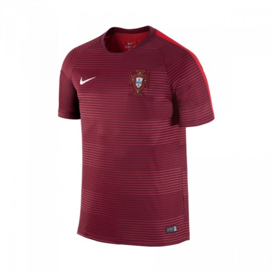 Camiseta  Nike Portugal Pre-Match Training II 2016-2017 Deep garnet-Light crimson-White