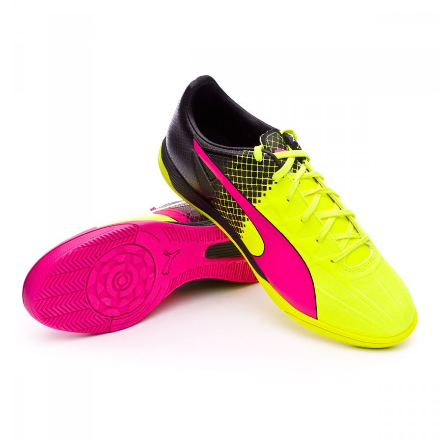 Futsal Boot Puma evoSpeed 4.5 IT Tricks Pink glo-Safety yellow-Black -  Football store Fútbol Emotion 835af085a2a79