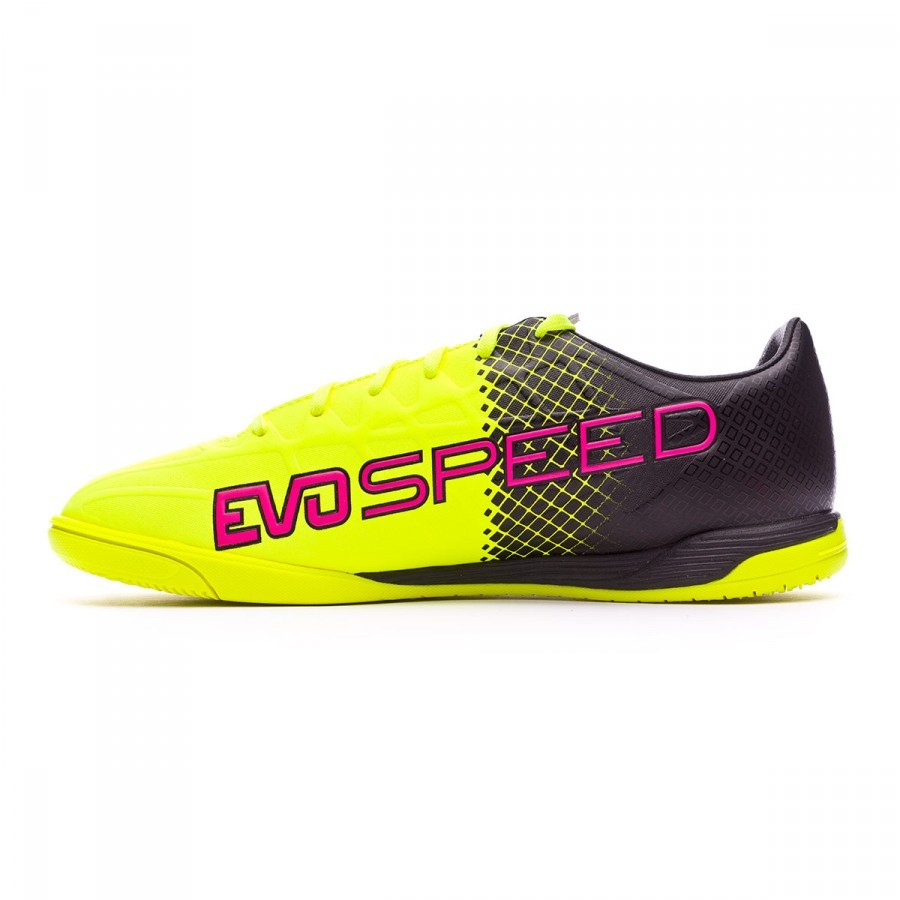 Futsal Boot Puma evoSpeed 4.5 IT Tricks Pink glo-Safety yellow-Black ... 6547bd86f78cf