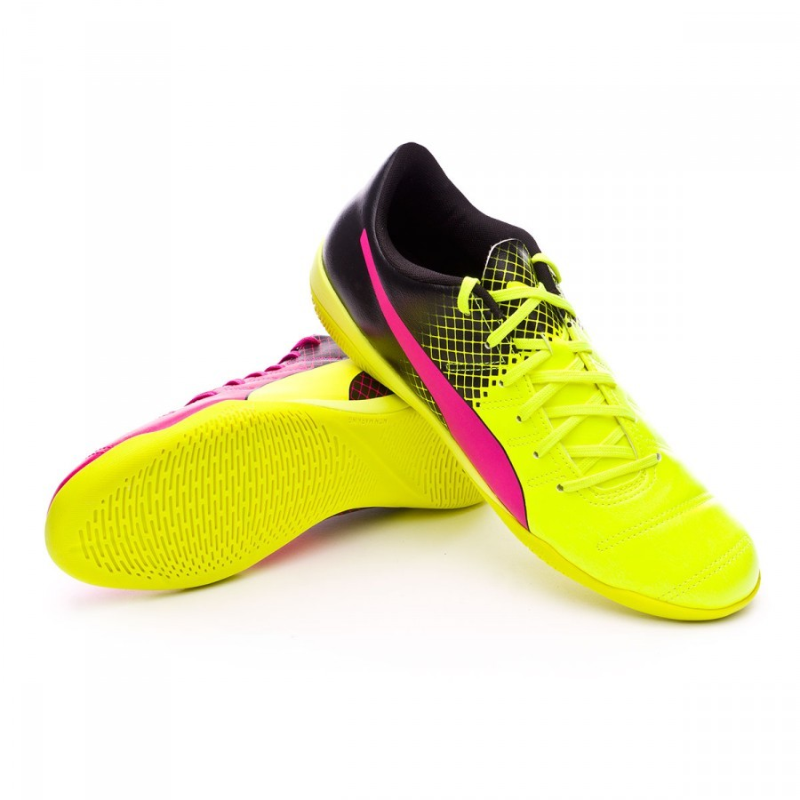 a753f8ee33 Futsal Boot Puma evoPower 4.3 IT Tricks Pink glo-Safety yellow-Black -  Football store Fútbol Emotion