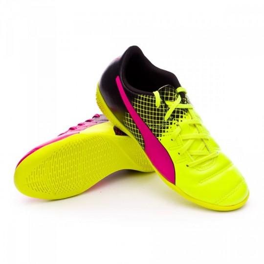 Zapatilla de fútbol sala  Puma jr evoPower 4.3 IT Tricks Pink glo-Safety yellow-Black