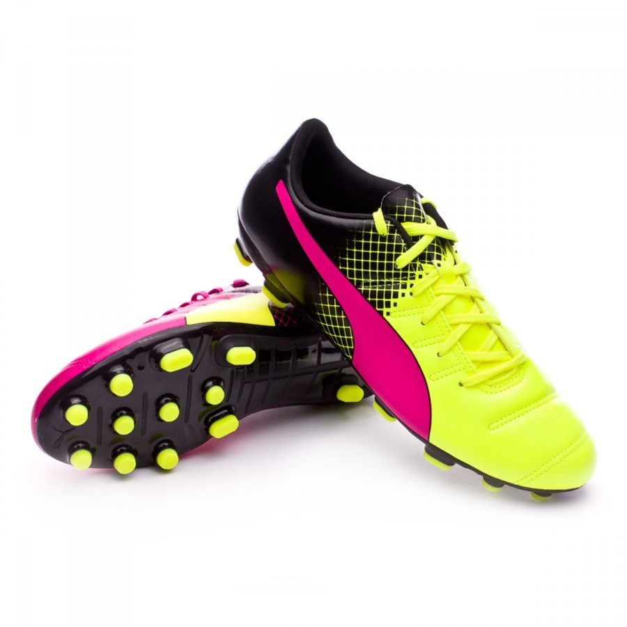8de52debb28 Football Boots Puma evoPower 4.3 AG Tricks Pink glo-Safety yellow ...